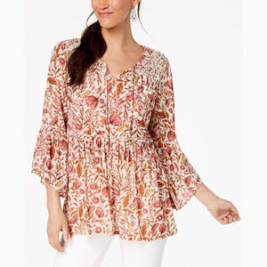 Style & Co Floral-Print Lace Peasant Top